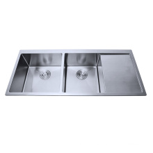 Stainless steel Handmade Square double bowl Kitchen Sink with Drainboard