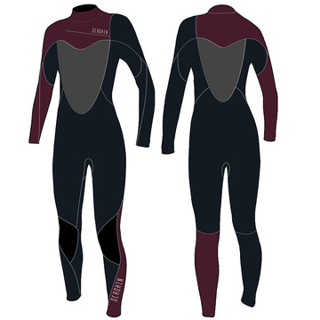 Tuta intera da surf da donna con zip sul petto in neoprene 3 / 2mm Seaskin