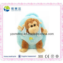 Plush Brown Stuffed Monkey Doll Blue Backpack
