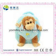 Plush Brown Stuffed Monkey Doll Blue Backpack