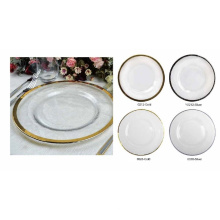 13'' Round Glass Charger Plate with Gold Rim.
