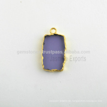 Großhandel Best Quality Amethyst Quarz Slice Lünette Set Micron Gold überzogen Sterling Silber Bezel Station Charm Hersteller
