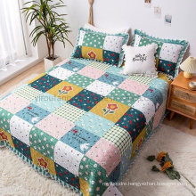 Hotel Decoration Plaid Bed Linen Bedspread Full Size Comforter Set for All Season