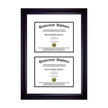 high quality Wholesale custom regular 8.5 x 11 black Wooden Double Diploma Frame with Double Matting