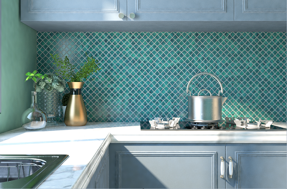 Green Kitchen Backsplash Wall Mural Design Background