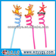 fancy hard plastic straw with pvc rubber charming for kids