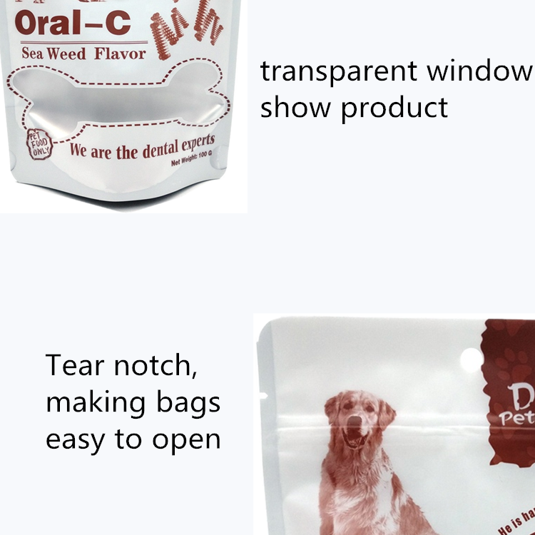 Food grade recycle pet food training treat bags