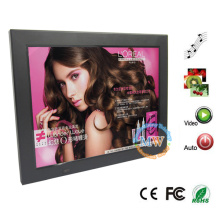 Porta-retrato digital de 12,1 polegadas com leitor de cartão, USB, MP3 e leitor de vídeo