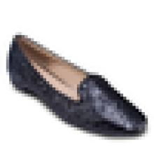 Glitter tecido mulheres bailarina plana sapatos 2016 calçado casual quadrados toe vestido sapato