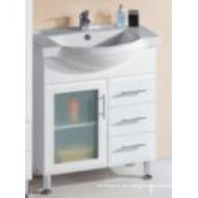 Vanidad de madera del cuarto de baño del MDF blanco brillante moderno de las mercancías sanitarias con una puerta de cristal (P192-750G)