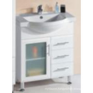 Modern Sanitary Ware Glossy White MDF Wooden Bathroom Vanity with One Glass Door (P192-750G)