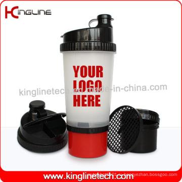 New Design 700 мл Пластиковая бутылка для протеинов с отсеком на нижней части и поддона в крышке, без BPA (KL-7001)