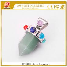 Шесть пирамидных колокольчиков Green Aventurine Gemstone Pendant 10SP0172 с семью чакрами на серебряном сплаве для женских украшений