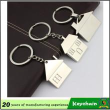 Casa do metal dada forma Keychain relativo à promoção da propriedade, lembrança Keychain do agente da casa