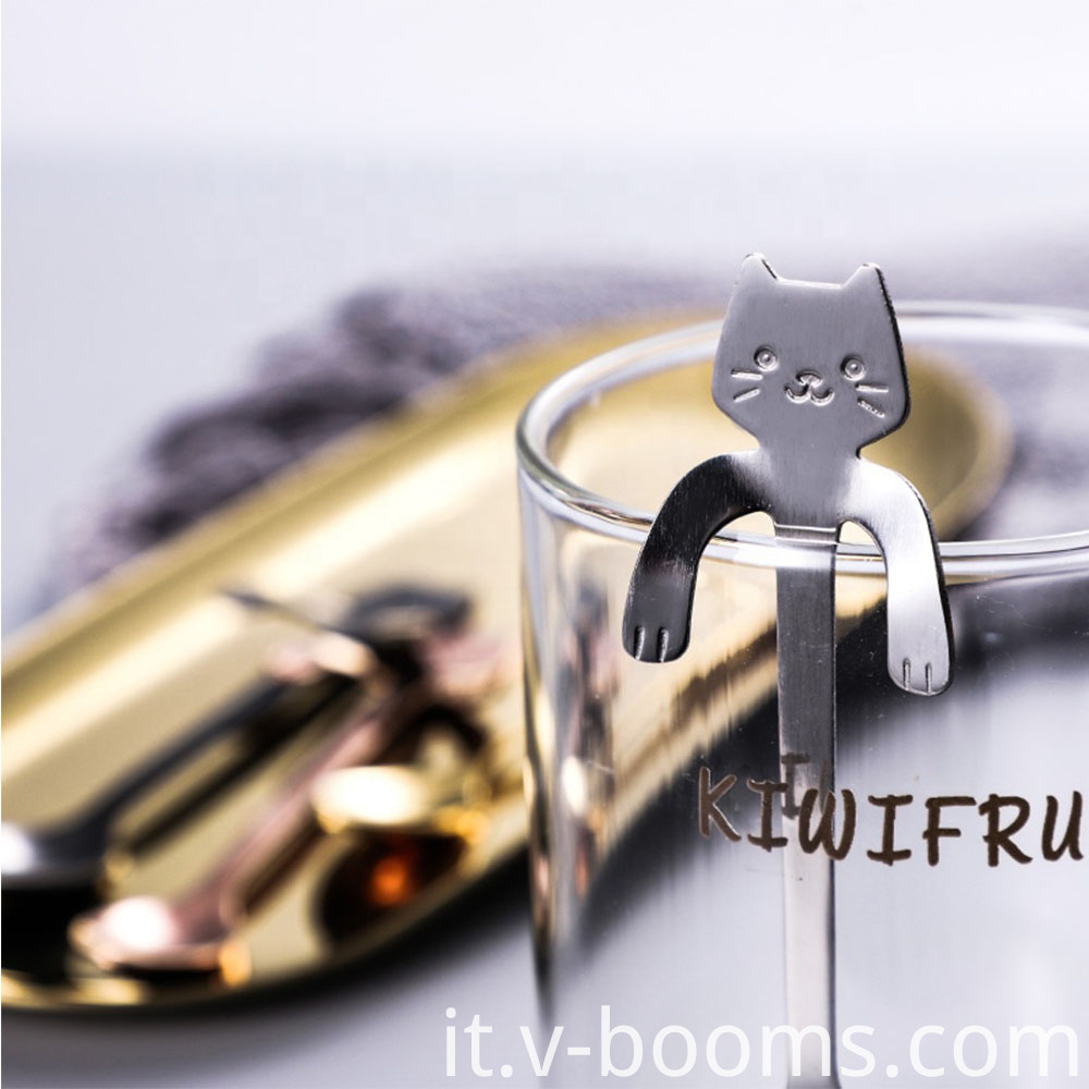Stainless Steel Cat Shape Dessert Spoon