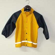 Сплошной желтый PU Светоотражающий дождя куртку для детей/ребенка