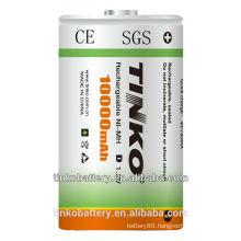 good qualtiy 1.2v size D ni-mh 10000mah rechargeable battery