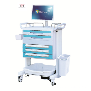 Hospital ABS Medical Emergency Trolley 4 wheels Cart for Hospital use