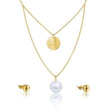 Conjunto de joyería nupcial del pendiente del collar de la perla grande de la boda africana de la moda