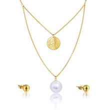 African Fashion Wedding Bridal Big Pearl Necklace Earring Jewelry Set