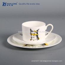 3pcs runde Form preiswerte einfache weiße keramische Platte, Knochen China-Gaststätte-Tafelgeschirr