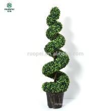 Grande usine artificielle d'arbre topiaire artificiel en pot en spirale