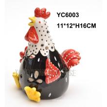 Bougeoir en forme de coq peint à la main en céramique