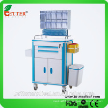 Alumínio e ABS Trilhos de aço inoxidável silencioso Carrinho de carrinho de anestesia