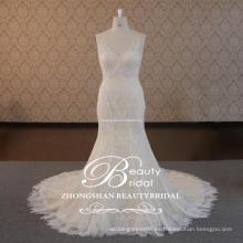 Buen tacto popular encantadora hundiendo V-cuello y cuello en V vestido de novia con la sirena de encaje