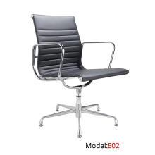Modern Eames Office Aluminium Leather Hotel cadeira de visitas de alumínio (E02)