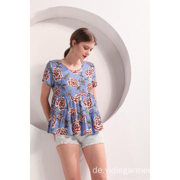 Damen Blue Flower Print Volant Ärmel Top