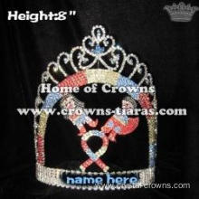 Crystal Super Hero Pageant Crowns With Ribbon