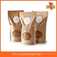 À prova de umidade impresso papel kraft resealable stand up sacos de embalagem para cookies