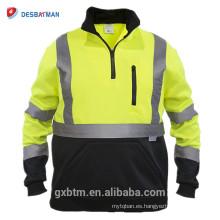 100% poliéster de alta visibilidad sudaderas con cremallera media ANSI clase 3 hola reflexivo de seguridad jersey de suéter para los trabajadores nocturnos