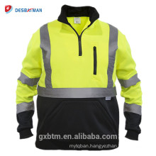 100% Polyester High Visibility Sweatshirts Half Zipper ANSI Class 3 Hi Vis Reflective Safety Pullover Sweater for Night Workers