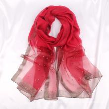 Hot Selling Luxury Pure Color Wool Silk Scarf Stylish Ladies Shining Decorative Shawl Scarves