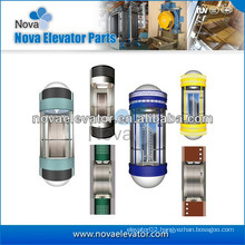 1.0m/s~1.75m/s 800kg~1000kg Residential Panoramic Elevator, Etched Stainless Steel Cabin