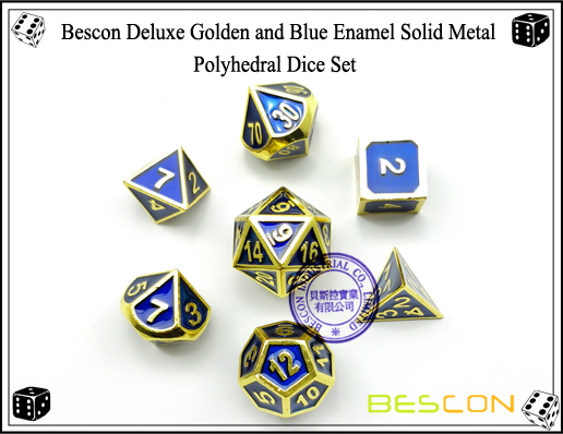Bescon Deluxe Golden and Blue Enamel Solid Metal Polyhedral Role Playing RPG Game Dice Set (7 Die in Pack)-4
