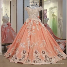 LS30887 white and organza 3D embroider flowers guangzhou new plunging neckline prom evening dress gown