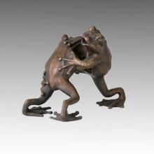 Tier Statue Doppel Frösche Kampf Bronze Skulptur Tpal-046
