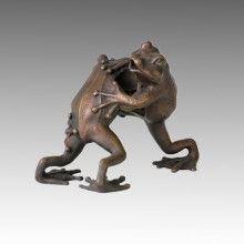 Animal Statue Double Frogs Fight Bronze Sculpture Tpal-046