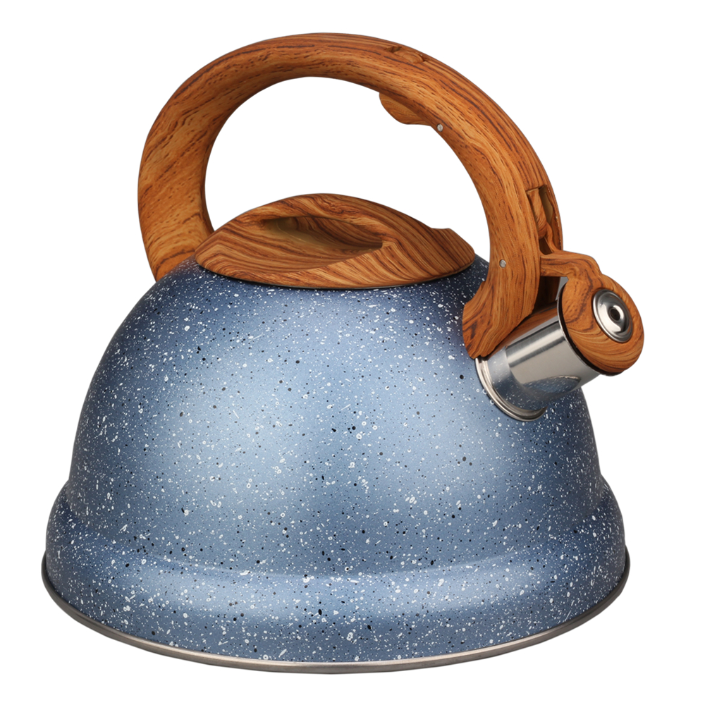 Painting Blue With Little Spot Of Stainless Steel Whistling Kettle