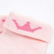 Gire el manguito Reina corona diseños niña calcetines de algodón