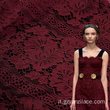 Pizzo Chantilly in cotone floreale rosso