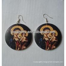 wooden round earings Printing Jesus earring