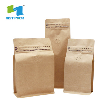Flat Bottom Compostable Bio Coffee Bag dengan injap