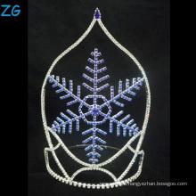Мода Дизайн Синяя снежинка Тиара Рождественская корона