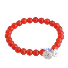 Natural Carlian Beads Bracelet with Silver Charm (BRG0020)