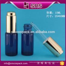 SRS high quality 15ml glass cosmetic serum dropper bottle