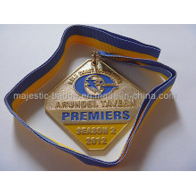 Gold Plating Process Novel Medallion with Ribbon